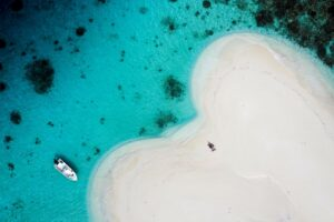 Guests sit on beautiful Maldives sandbank in a turquoise blue lagoon